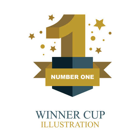 Winner cup. Number one gold winner cup illustration with ribbon. Trophy cup flat icon.