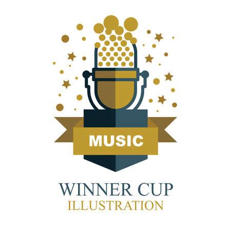 Music award illustration. Musical winner cup icon. Vintage microphone shaped winner trophy. 일러스트