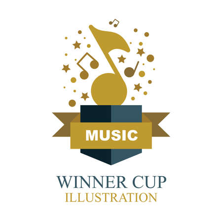 Music award illustration. Musical winner cup icon. Musical note shaped winner trophy.