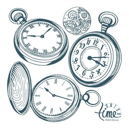 Pocket watch. Hand drawn pocket watch vector illustrations set. Sketch drawing old clock icons set.