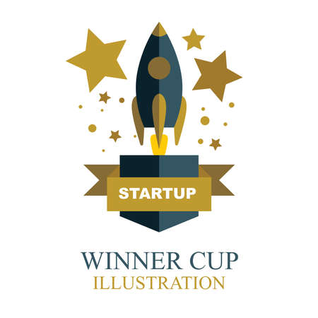 Winner cup. Start up gold winner cup illustration with rocket, stars and ribbon. Trophy cup flat icon.