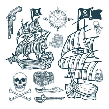 Ship. Pirate sailing ship and attributes. Pirate vintage style drawing symbolic. Illustration