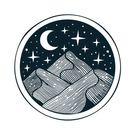 Mountains. Moon and stars on sky in mountains. Travel emblem. Mountain adventure vintage style hand drawn illustration. Travel and outdoor tourism sketch drawing logo.
