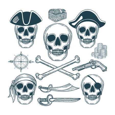 Skull Pirate Skull. Skull with pirate attributes. Pirate vintage style drawing symbolic. Çizim
