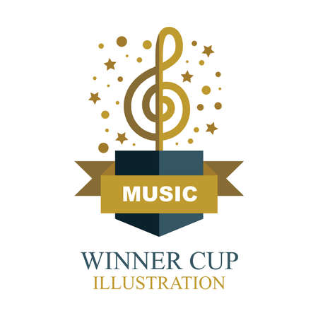 Music award illustration. Musical winner cup icon. Musical key shaped winner trophy.