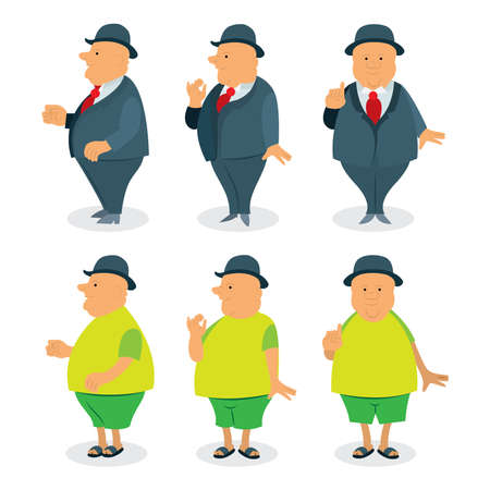 Old man in different poses and clothing. Aged man vector illustrations set.