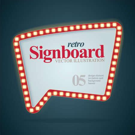 Signboard. Retro style signboard. Signboard with light bulbs. Part of set. Vektorgrafik