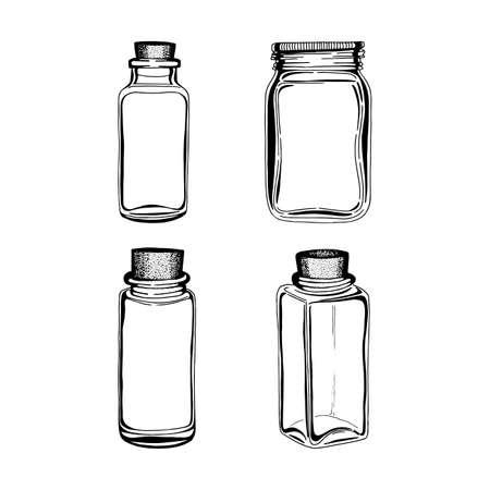 Jar. Hand drawn different jars set. Glass jar sketch drawing.