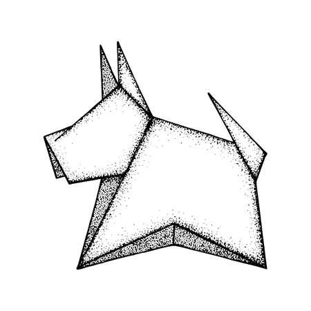 Dog. Origami dog. Paper craft cute dog figure vector illustration. Hand drawn dog geometric symbol.