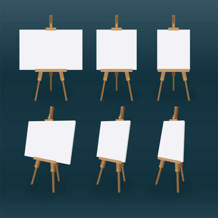 Easel and canvas. Wooden easel and white canvas vector illustration. Front and side view of easel with blank canvas for painting. Part of set. 일러스트