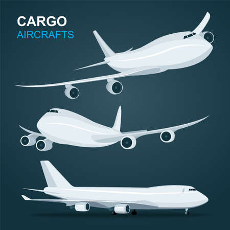 Cargo aircraft set. Airplane in profile, side view, from the front and top view isolated vector illustration. Part of set.