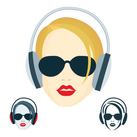 Young girl with headphones. Girl face with dark glasses and headphones vector illustrations set. Musical theme vector illustration, logo and icons set.  イラスト・ベクター素材