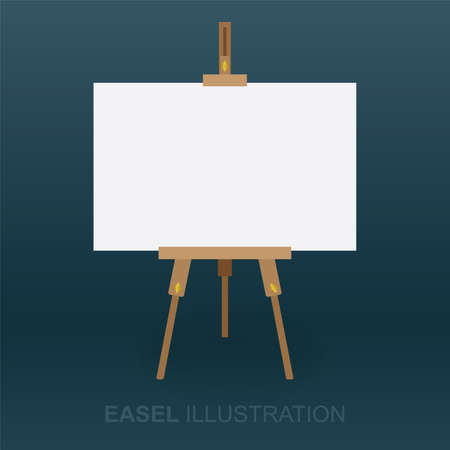 Easel and canvas. Wooden easel and white canvas vector illustration. Front view of easel with blank canvas for painting. Part of set. Ilustración de vector