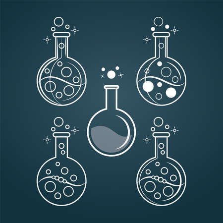 Test tubes. Laboratory tubes vector illustrations. Flasks icons set. Laboratory test. Çizim