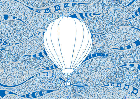 Balloon Hot air balloon hand drawn vector illustration. Aerostat sketch drawing on doodle background.
