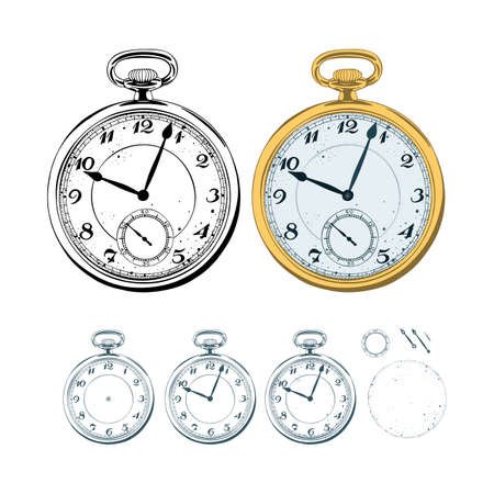 Pocket watch. Hand drawn vintage pocket watch illustrations set. Easy editable arrows.