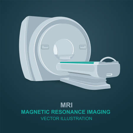 MRI. Magnetic resonance imaging device. Isolated MRI scanner vector illustration.