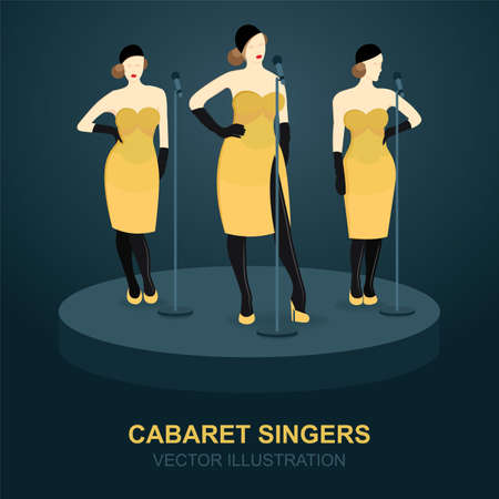 Cabaret singer girls set. Illustration of young singers in different poses. Music theme vector template.