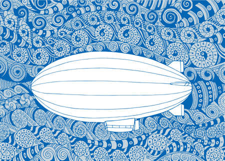 Airship Dirigible hand drawn vector illustration. Airship sketch drawing on doodle background.