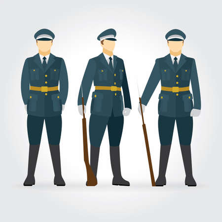 Guard of honor. Soldier and guard of honor vector illustration set.