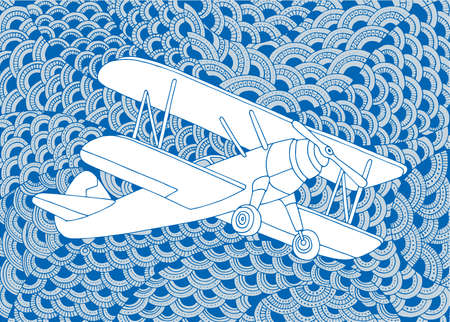 Biplane Aircraft hand drawn vector illustration. Small airplane sketch drawing on doodle background.
