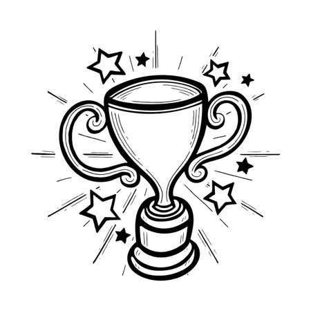 Winner cup sketch drawing. Hand drawn trophy vector illustration. 矢量图像
