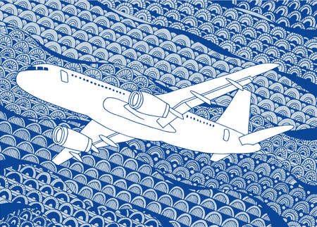 Airplane Aircraft hand drawn vector illustration. Plane sketch drawing on doodle background.  イラスト・ベクター素材