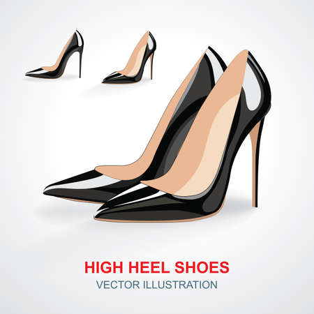High heels shoes set. Realistic high heels shoes vector illustrations isolated on white background.