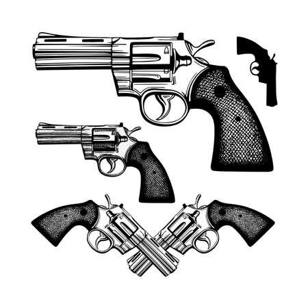 Revolver Hand drawn vintage revolver vector illustration. Engraving style old pistols set. Ilustración de vector