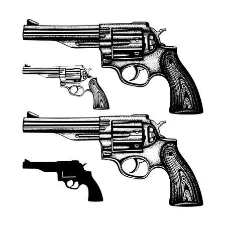 Revolver Hand drawn vintage revolver vector illustration. Engraving style old pistols set.