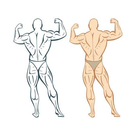 Strong man. Strong bodybuilder hand drawn vector illustration. Muscular man. Part of set.