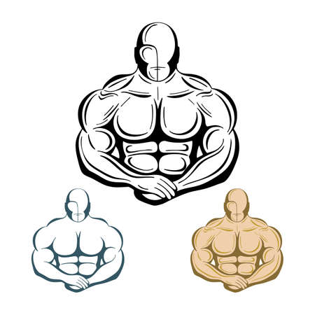 Strong man. Strong bodybuilder hand drawn vector illustration. Muscular man. Part of set.