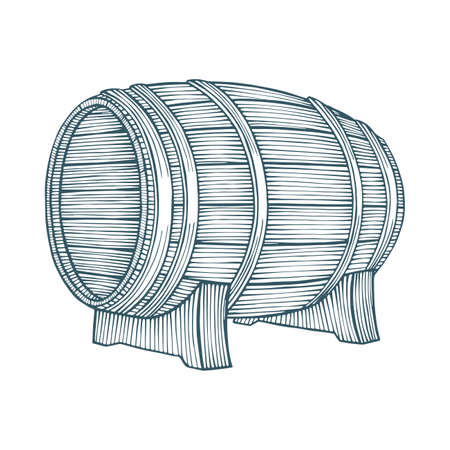 Barrel. Wooden barrel hand drawn vector illustration. Part of set.  イラスト・ベクター素材
