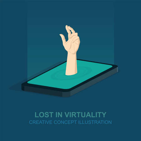 Hand stretching out of the mobile device surface. Virtual life and communication concept design. Part of set.