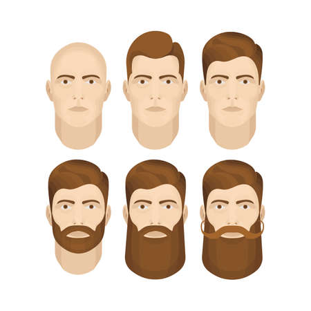 Man face vector illustrations set. Male character face constructor. Man face with different beard styles isolated on white background. 矢量图像