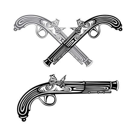 Old gun. Vintage flintlock pistol vector illustrations collection. Hand drawn antique pistol graphic. Part of set.