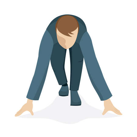Businessman ready to sprint on start. Man in corporate suit in start position. Business man character on start up. Business man cartoon style vector illustration. Part of set. Vecteurs