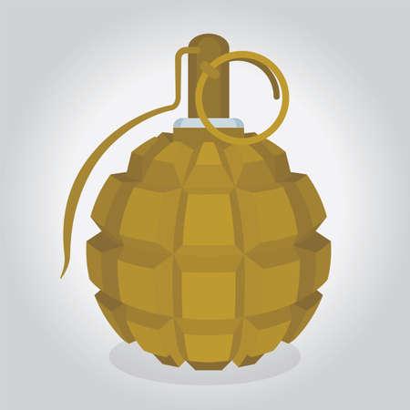 Keyboard hand grenade. Fragmentation type hand grenade vector illustration. Concept for creative explosive ideas. Part of set.