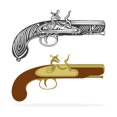 Old gun. Vintage flintlock pistol vector illustrations collection. Hand drawn and realistic antique pistol icons. Part of set.