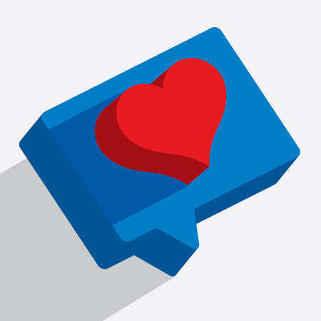 Isometric graphics of heart icons. Love or like vector illustration. Chat and speech bubble with heart. Part of set.