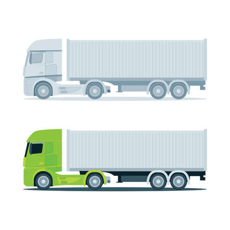 Truck. Modern cargo truck trailer vector illustrations. Truck trailer with container. Part of set. 向量圖像
