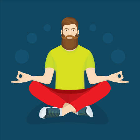 Young man with long beard and mustache relaxing in lotus position. Virtual communication concept illustration. Part of set.