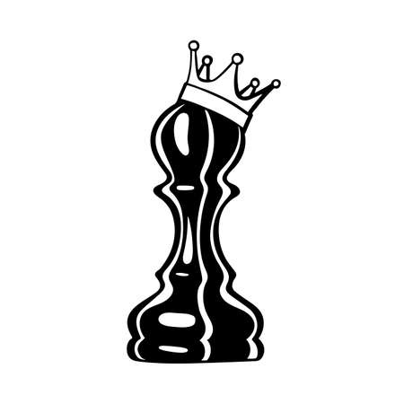 Pawn with a crown. Pawn vector illustrations set.