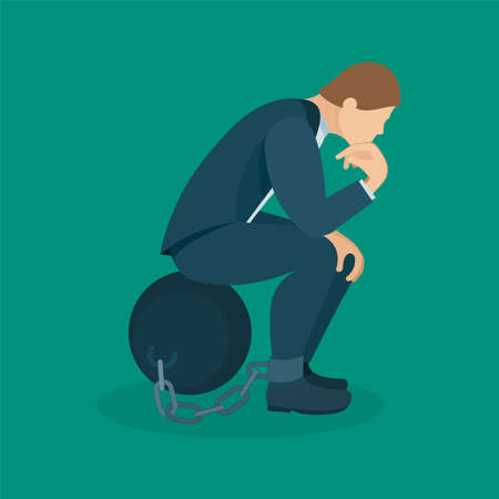 Thinking businessman with heavy iron shackles. Thinking businessman character chained to the iron ball. Concept design element business and psychology themes.
