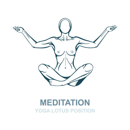 Hand drawn woman in yoga pose isolated on white background. Meditation concept vector illustration. Yoga lotus position  .