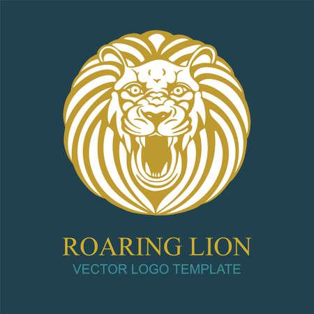Lion. Hand drawing roaring lion vector illustration. Roaring lion head  . Part of set.