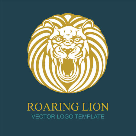 Lion. Hand drawing roaring lion vector illustration. Roaring lion head  . Part of set.