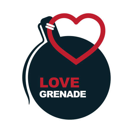 Love creative illustration. Love grenade metaphor. Hand grenade with heart style pull ring. Love logo and icon.