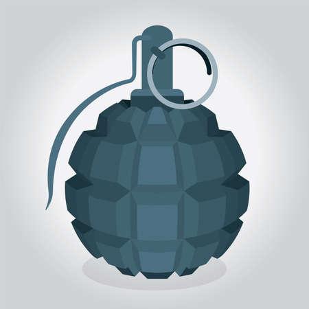 Keyboard hand grenade. Fragmentation type hand grenade vector illustration. Creative concept for explosive ideas, news, social media, projects. Part of set.