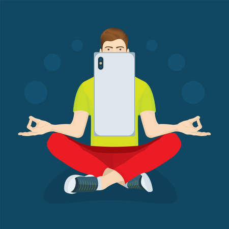 Young man with mobile phone relaxing in lotus position. Virtual communication concept illustration. Part of set.